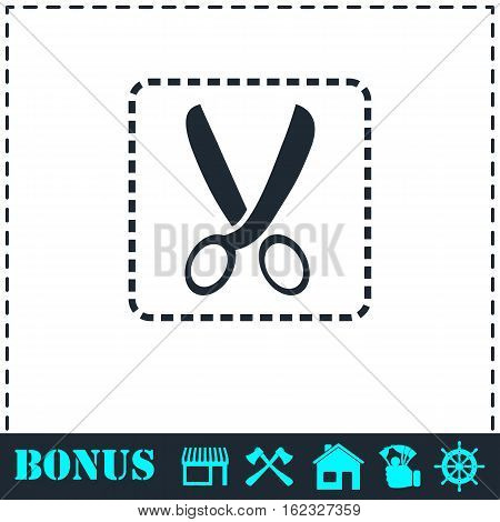 Coupon cutting icon flat. Simple vector symbol and bonus icon