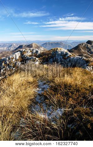 The mountains of Montenegro at the beginning of winter