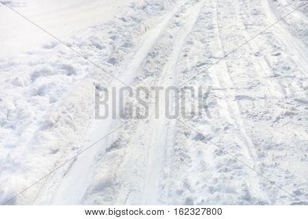 Ski Runs On Snowy Field