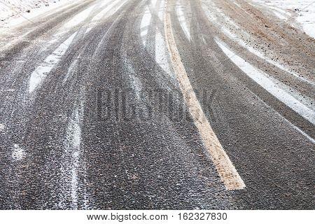 Snowy Slippery Road In Winter