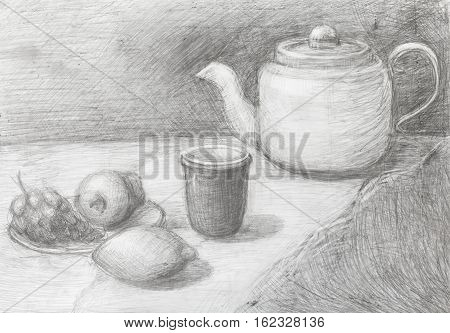 Still Life Of Teapot, Cup, Fruits Drawn By Pencil