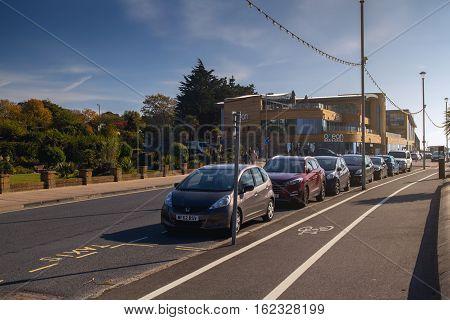 EXMOUTH UK 21 October 2016: parked cars on the coastal street. Devon. England