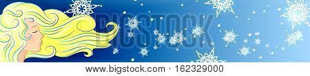 vector illustration blue background young girl hair on the wind snowflake fly winter