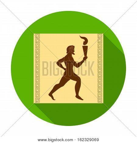 Athlete with olympic fire icon in flat style isolated on white background. Greece symbol vector illustration.