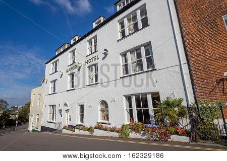 EXMOUTH UK 21 October 2016: The three-story white building - Manor Hotel. Devon. UK