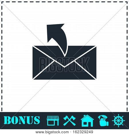 Sending mail icon flat. Simple vector symbol and bonus icon