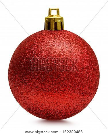Red glitter christmas ball isolated over white, clipping path