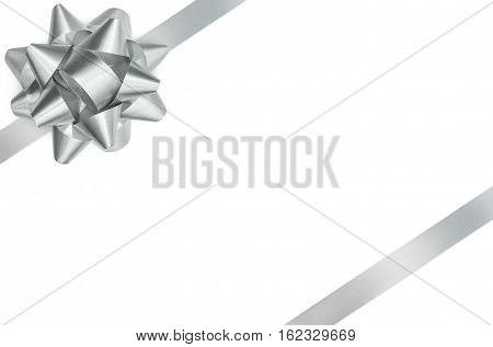 Silver gift bow and ribbon isolated with clipping path
