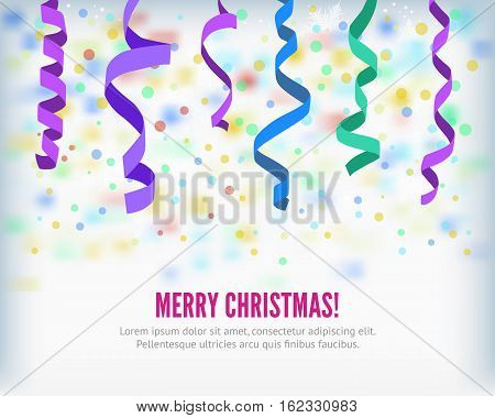 Merry Christmas set of colorful flat streamers and confetti isolated on light background. Carnival winter party serpentine party popper decoration for your banner and greating card design.