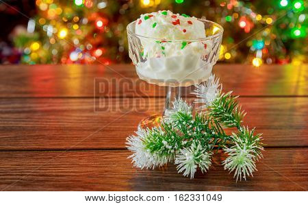 Christmas New Year's Eve. looks at the ice cream. ice creams christmas new year