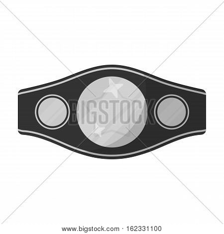 Boxing championship belt icon in monochrome style isolated on white background. Boxing symbol vector illustration.