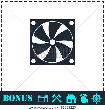 Computer cooling fan icon flat. Simple vector symbol and bonus icon