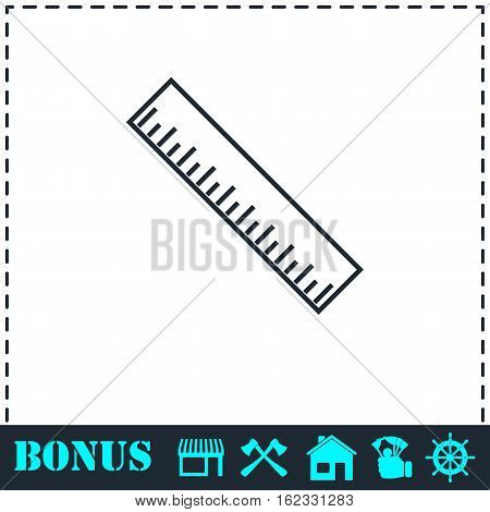 Ruler icon flat. Simple vector symbol and bonus icon