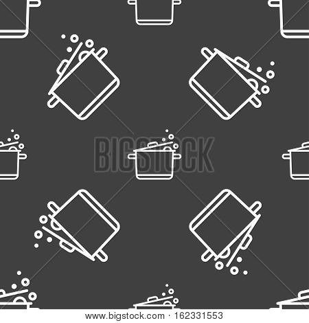 Pot Icon Sign. Seamless Pattern On A Gray Background. Vector