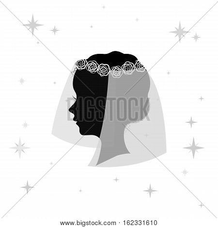 Bridal veil icon in monochrome design isolated on white background. Bride symbol stock vector illustration.