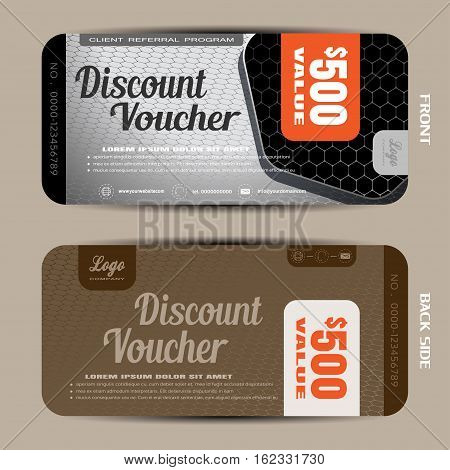 Vector discount voucher on the light gray hexagon mesh pattern and brown background with hexagon black shape.