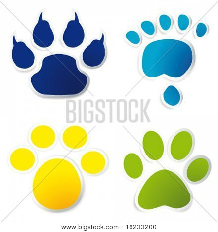 Colorful animal tracks on stickers