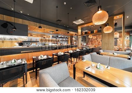 MOSCOW - AUGUST 2014: Interior of a Japanese restaurant bar and lounge