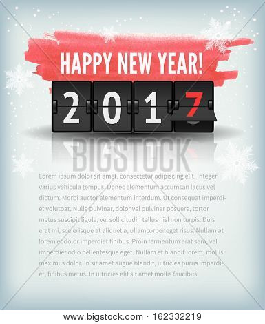 Happy New Year greeting card or web page with snowflakes and 2017 analog numbers. Holiday abstract blue winter snow background texture with scoreboard and red watercolor.