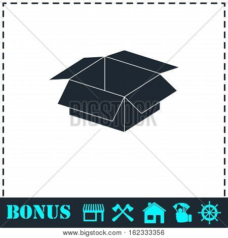 Open box icon flat. Simple vector symbol and bonus icon