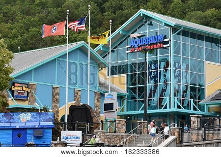 GATLINBURG, TN - OCT 7: Aquarium of the Smokies in Gatlinburg, Tennessee, as seen on Oct 7, 2016. Gatlinburg is a popular vacation resort, as it rests on the border of the Great Smoky Mountains National Park along U.S. Route 441.