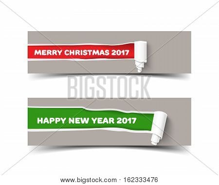 Vector torn paper banner with paper roll of Merry Christmas and Happy new year colors. Green and red ripped pieces of paper with shadow isolated on banner. Hole in paper with torn sides for web poster