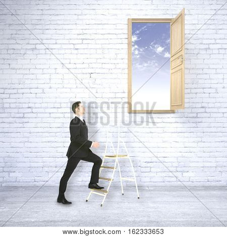 Businessman in white brick interior climbing ladder leading to bright blue sky. Success concept. 3D Rendering