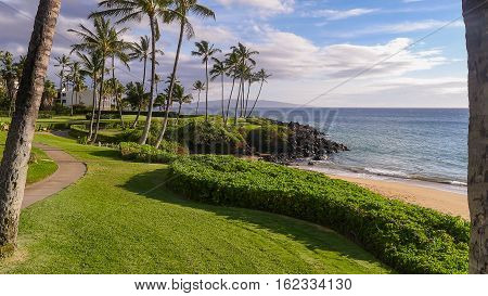 Coastal walkway in Maui along the south east shore
