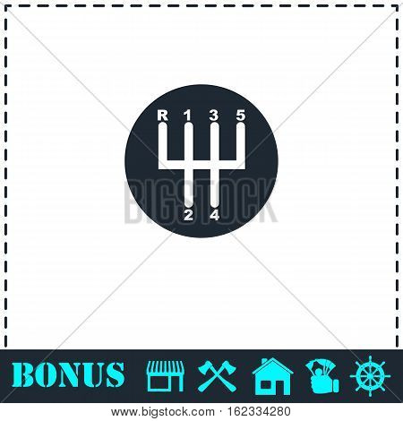 Gear shifter icon flat. Simple vector symbol and bonus icon