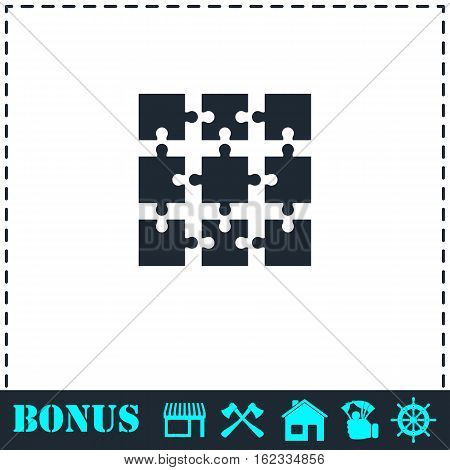 Puzzle icon flat. Simple vector symbol and bonus icon