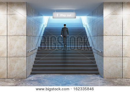 Success concept. Businessman climbing illuminated underground staircase with 'way out' sign. 3D Rendering
