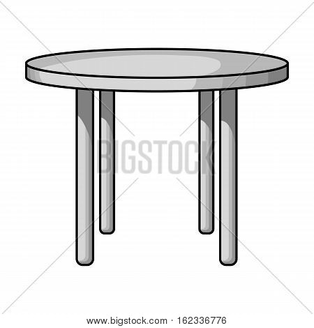 Wooden round table icon in monochrome style isolated on white background. Furniture and home symbol stock vector illustration.