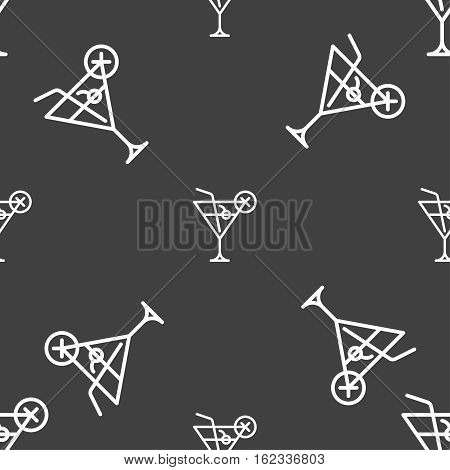Martini Glass Icon Sign. Seamless Pattern On A Gray Background. Vector