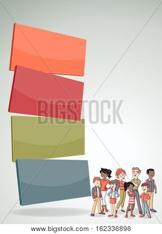 Vector banners / backgrounds with cartoon family. Infographic template design.