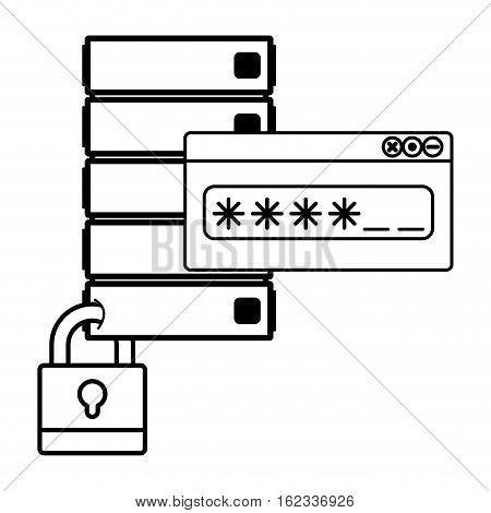 Web hosting and padlock icon. Data center base and security system theme. Isolated design. Vector illustration