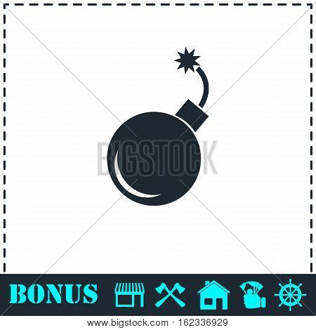 Bomb icon flat. Simple vector symbol and bonus icon