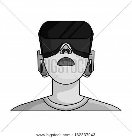Player with virtual reality headmonochrome icon in monochrome style isolated on white background. Virtual reality symbol stock vector illustration.
