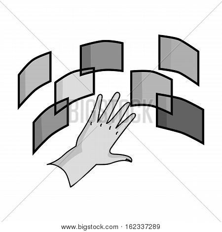 Interface of the virtual reality icon in monochrome style isolated on white background. Virtual reality symbol vector illustration.