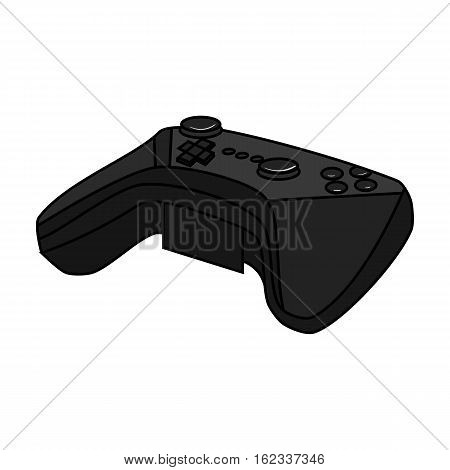 Game controller for the virtual reality icon in monochrome style isolated on white background. Virtual reality symbol vector illustration.