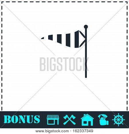 Wind sock icon flat. Simple vector symbol and bonus icon