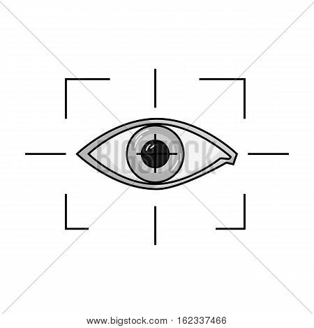 Focus of eye in the virtual reality icon in monochrome style isolated on white background. Virtual reality symbol vector illustration.