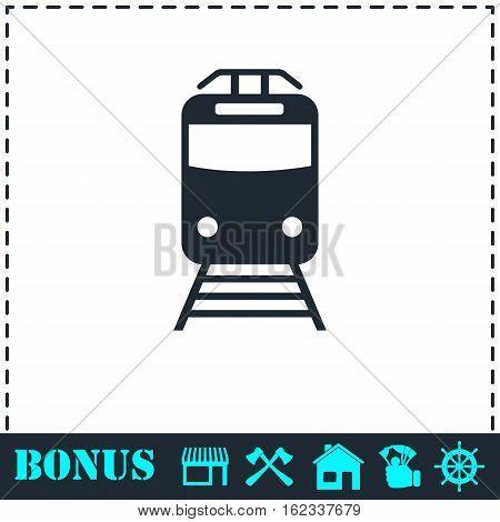 Metro icon flat. Simple vector symbol and bonus icon