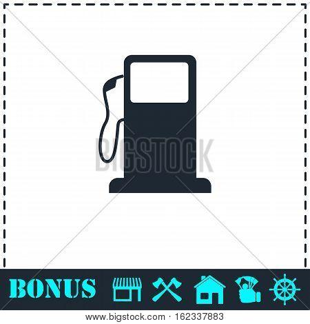 Gas station icon flat. Simple vector symbol and bonus icon