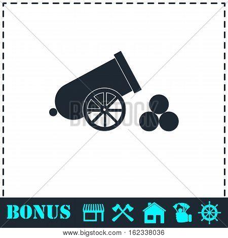 Cannon icon flat. Simple vector symbol and bonus icon