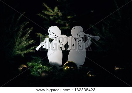 Angel Christmas decorations displayed in a Christmas fair Winter Wonderland