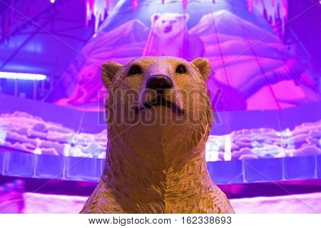 Polar bear model displayed in a Christmas fair Winter Wonderland