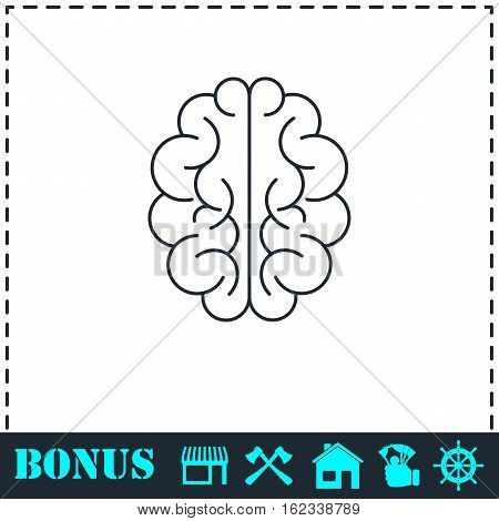 Brain icon flat. Simple vector symbol and bonus icon