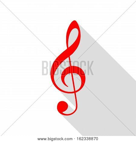 Music violin clef sign. G-clef. Treble clef. Red icon with flat style shadow path.