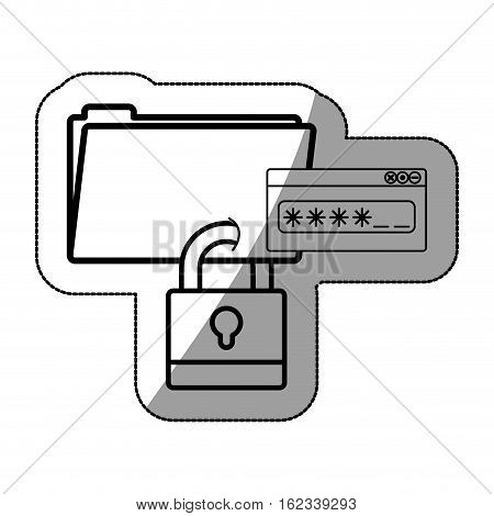 File and padlock icon. Data archive storage and organize theme. Isolated design. Vector illustration
