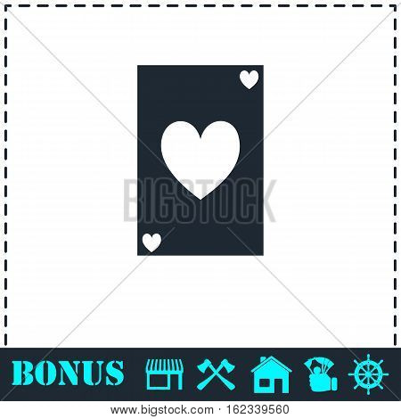 Playing card icon flat. Simple vector symbol and bonus icon